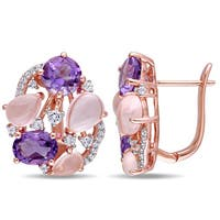 Miadora Rose Plated Sterling Silver Amethyst Rose Quartz and White Topaz Openwork Earrings