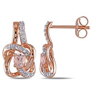Miadora 10k Rose Gold Oval Morganite and 1/7ct TDW Diamond Love Knot Earrings (G-H, I1-I2)