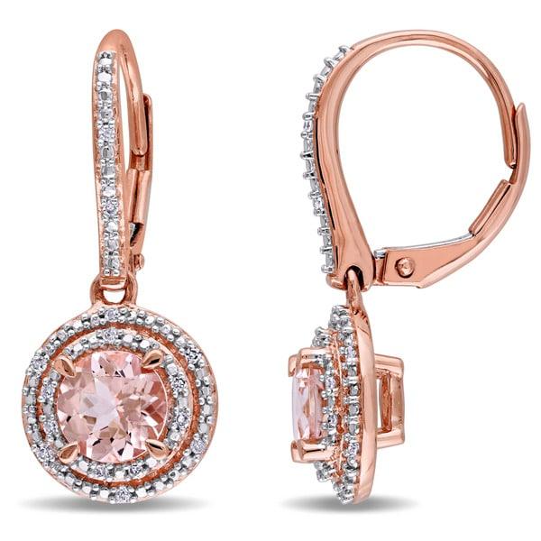 Miadora 10k Rose Gold Morganite And 1 10ct Tdw Diamond Double Halo Leverback Earrings