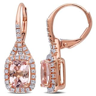 Miadora 14k Rose Gold 1/5ct TDW Diamond and Cushion-Cut Morganite Halo Leverback Earrings (G-H, I1-I2)|https://ak1.ostkcdn.com/images/products/12511484/P19318066.jpg?impolicy=medium