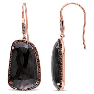 Miadora Signature Collection 14k Rose Gold Black Sapphire and Smokey Quartz Drop Hook Earrings