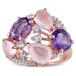 Miadora Rose Plated Sterling Silver Amethyst Rose Quartz and White Topaz Openwork Cocktail Ring
