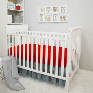 American Baby Company Aqua Waves Red/Grey Cotton 4-piece Crib Bedding Set