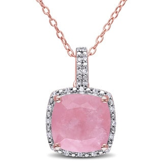 Miadora Rose Plated Sterling Silver Cushion-Cut Guava Quartz and 1/10ct TDW Diamond Halo Necklace (G-H, I2-I3)