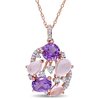 Miadora Rose Plated Sterling Silver Amethyst Rose Quartz and White Topaz Openwork Necklace