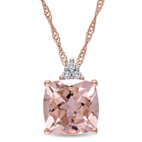 Miadora 14k Rose Gold Cushion-Cut Morganite and Diamond Accent Drop Necklace (G-H, I1-I2) - Pink