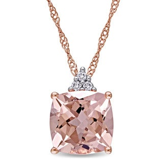 Miadora 14k Rose Gold Cushion-Cut Morganite and Diamond Accent Drop Necklace (G-H, I1-I2)