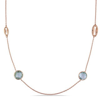 Miadora Signature Collection 18k Rose Gold Sky-Blue Topaz and Golden Link Station Necklace