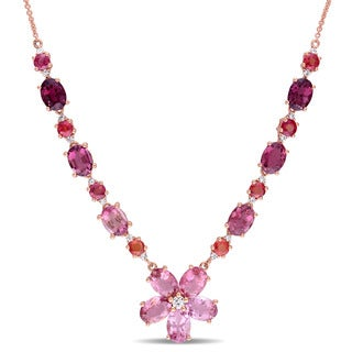 Miadora Signature Collection 14k Rose Gold Pink Tourmaline Orange Sapphire and 1/3ct TDW Diamond Flower Necklace (G-H, SI1-SI2)