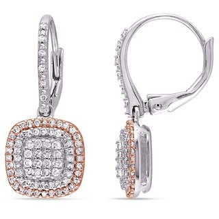Miadora 2-Tone White and Rose Plated Sterling Silver 1/2ct TDW Diamond Grid Double Halo Leverback Earrings (I-J, I3-I4)