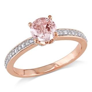 Miadora 10k Rose Gold Morganite and Diamond Accent Semi-Mount Engagement Ring (G-H, I2-I3)