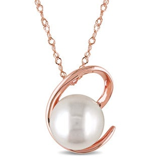 Miadora 14k Rose Gold Freshwater Cultured Pearl Twist Necklace (8.5-9 mm)