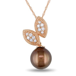Miadora 14k Rose Gold Brown Tahitian Pearl and 1/6ct TDW Diamond Leaf Necklace (9-9.5mm)(G-H, I1-I2)