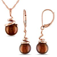 Miadora 14k Rose Gold Brown Freshwater Cultured Pearl Spiral Drop Necklace and Leverback Earrings 2-Piece Set (8-8.5mm)