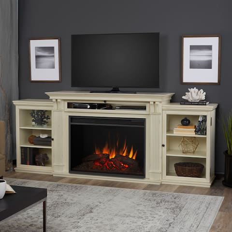 Tracey Media Distressed White Electric Grand Fireplace - 83.75L x 18W x 34.5H
