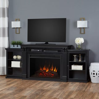 Tracey Real Flame Black Finish 83.75 in. L x 18 in. D x 34.5 in. H Electric Grand Fireplace