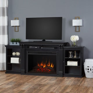 Tracey Real Flame Black Finish Electric Grand Fireplace - 83.75L x 18W x 34.5H