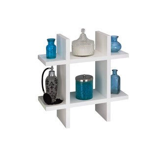 White Grid Shaped Wall Shelf
