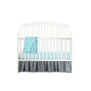 American Baby Company Aqua Blue/Grey Cotton 5-Piece Crib Bedding Set