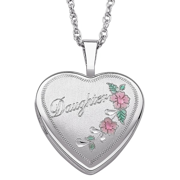 47f6764b60 Sterling Silver Floral Design Engraved Daughter Heart Locket Necklace
