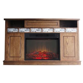 Bristol Oak/Veneer/Polystone Electric Fireplace