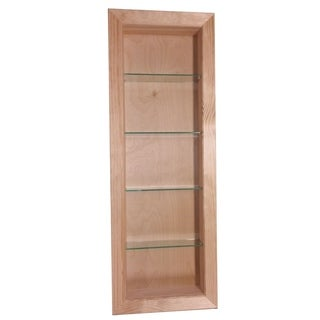 WG Wood Products Desoto Unfinished Wood 42-inch High x 2.5-inch Deep Recessed-in-the-wall Bathroom Shelf