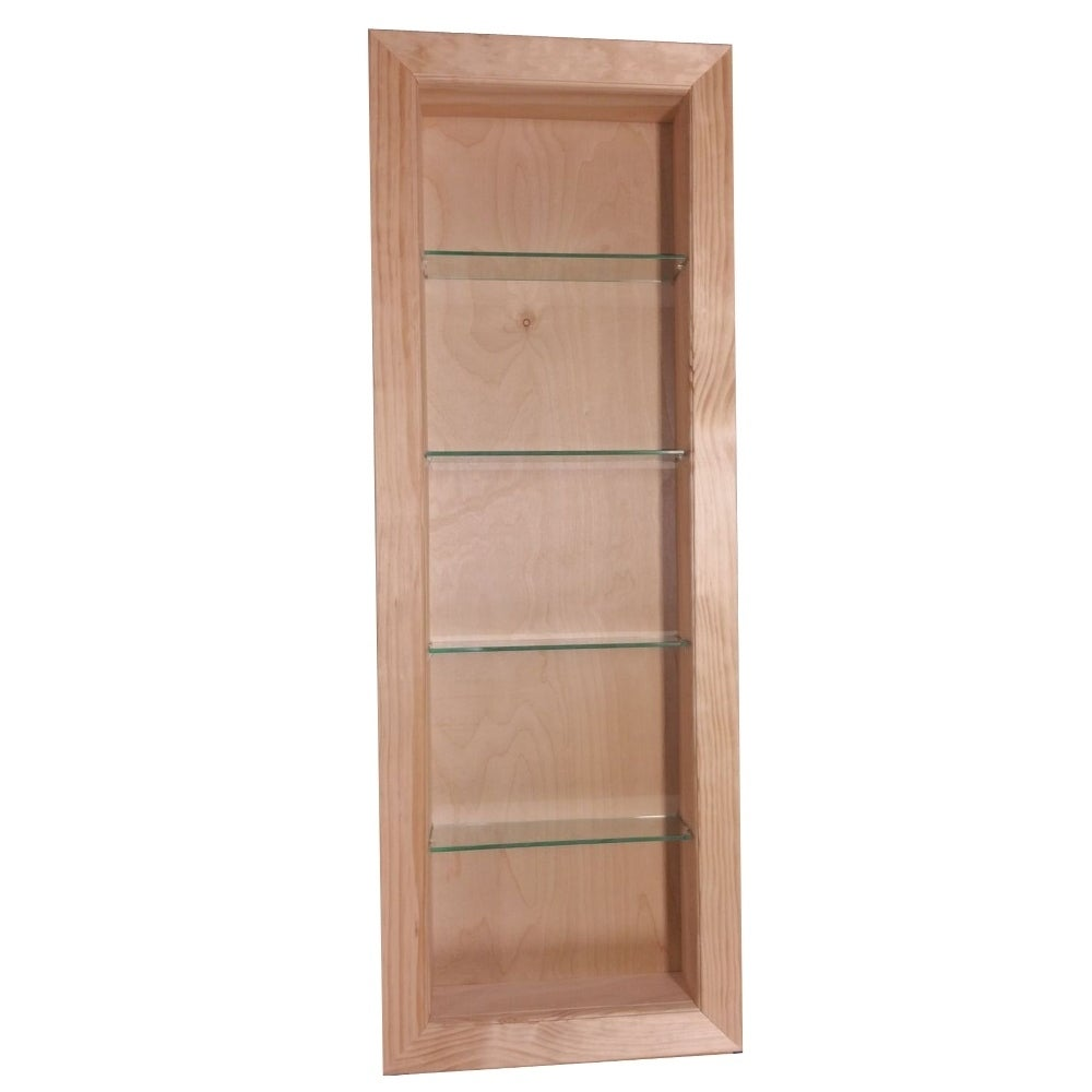 Exceptionnel Bathroom In Wall Storage Wooden Open Medicine Cabinet Glass Shelves  Organizer
