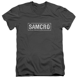 Sons Of Anarchy/Samcro Short Sleeve Adult T-Shirt V-Neck 30/1 in Charcoal