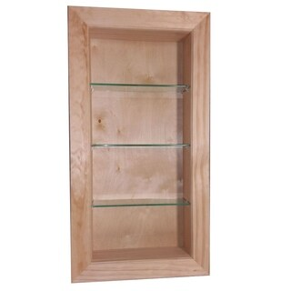 Desoto Pine Wood and Glass 30-inch Recessed-in-the-wall Bathroom Shelf