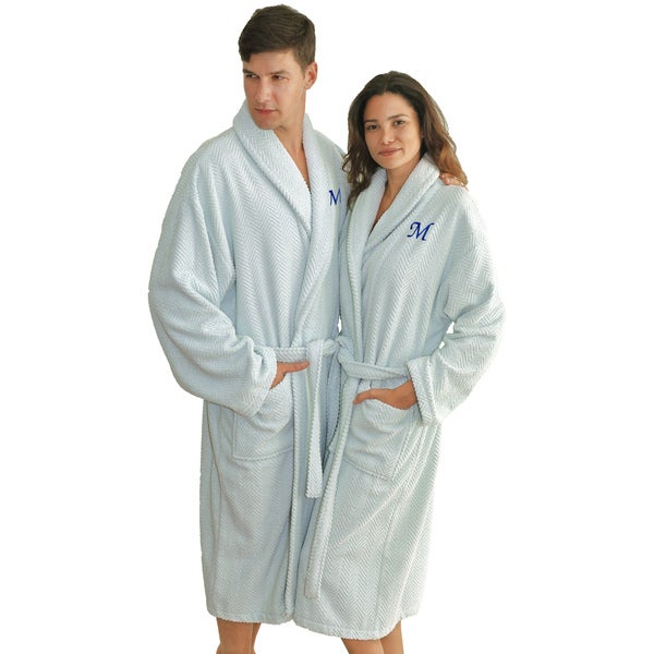 Authentic Hotel and Spa Ice Blue with Blue Monogrammed Herringbone Weave Turkish Cotton Unisex Bath Robe