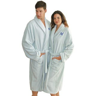 Authentic Hotel and Spa Ice Blue with Blue Monogrammed Herringbone Weave Turkish Cotton Unisex Bath Robe https://ak1.ostkcdn.com/images/products/12511697/P19318343.jpg?impolicy=medium