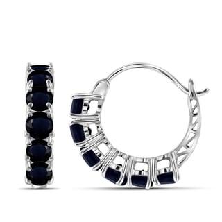Jewelonfire Sterling Silver 4.55 CTW Sapphire Gemstone Hoop Earrings