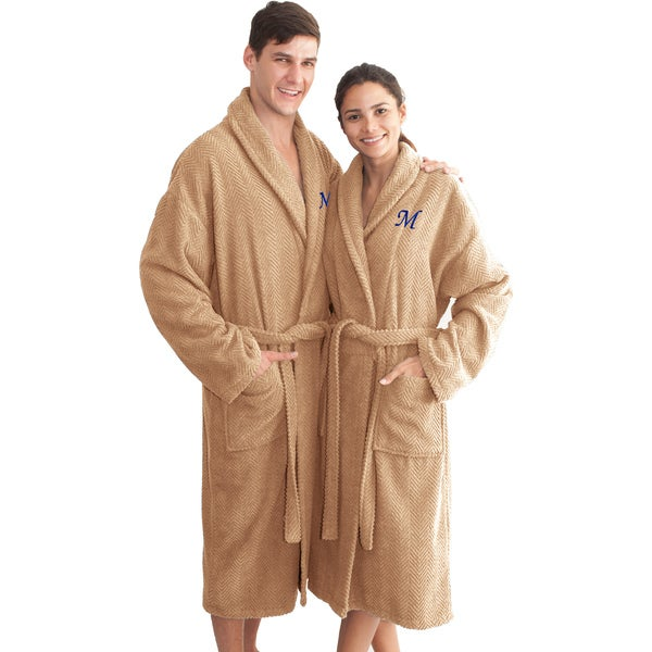 Authentic Hotel and Spa Sandy Tan with Blue Monogrammed Herringbone Weave Turkish Cotton Unisex Bath Robe