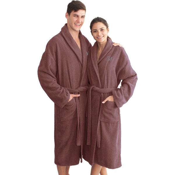 Authentic Hotel and Spa Plum Purple with Grey Monogrammed Herringbone Weave Turkish Cotton Unisex Bath Robe