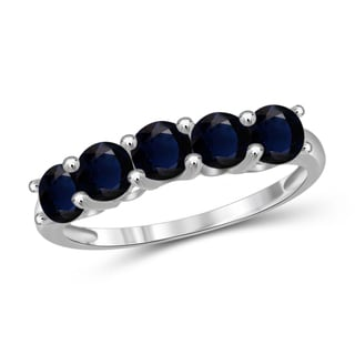 Jewelonfire Sterling Silver and Sapphire Five-stone Ring