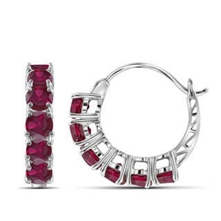Jewelonfire Sterling Silver 3.95 CTW Ruby Gemstone Hoop Earrings
