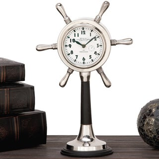 Urban Designs Royal Sea Aluminum/Wood Steering Wheel Tabletop Clock