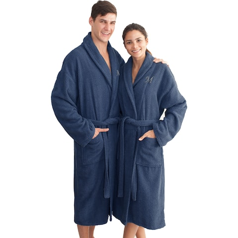Authentic Hotel and Spa Midnight Blue with Grey Monogrammed Herringbone Weave Turkish Cotton Unisex Bath Robe