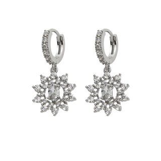 Eternally Haute Silver Cubic Zirconia Dangle Flower Earrings