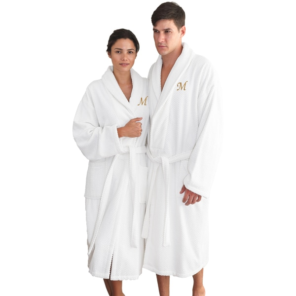 Authentic Hotel and Spa White with Gold Monogrammed Herringbone Weave Turkish Cotton Unisex Bath Robe