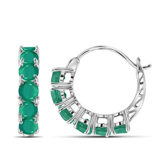 JewelonFire Sterling Silver 3.35-carat Emerald Gemstone Hoop Earrings