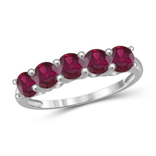 Jewelonfire Sterling Silver and 1.65-carat Ruby Five-stone Band