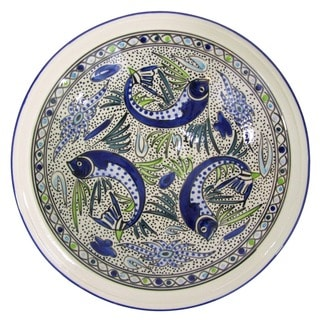 Large Stoneware Serving Bowl  Aqua Fish Design, by Le Souk Ceramique (Tunisia)
