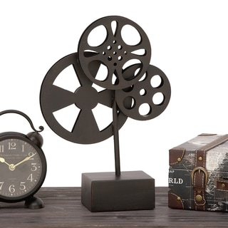 Urban Designs Black Metal Hollywood Vintage Movie Reel Table Stand