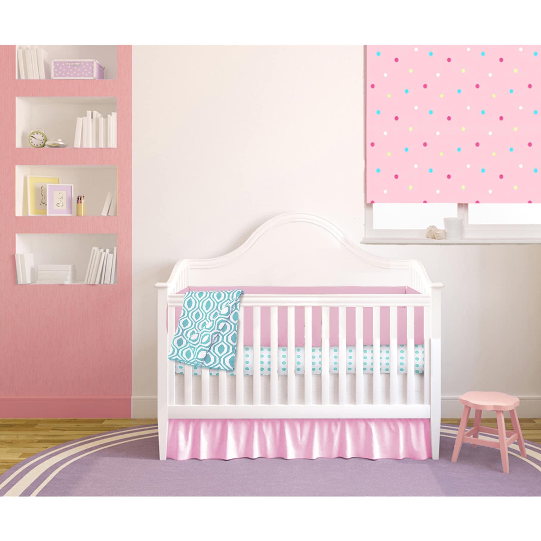 American Baby Pink and Aqua Cotton 4-piece Baby Girl Crib...