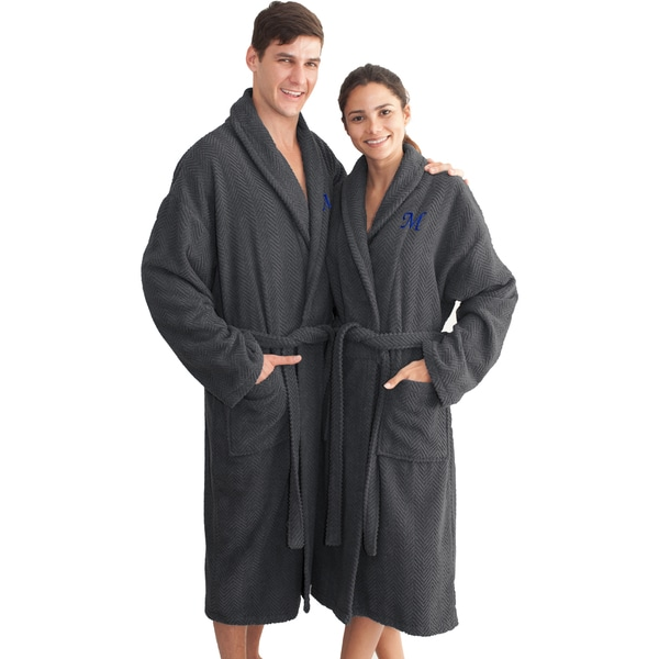 Authentic Hotel and Spa Charcoal Grey with Blue Monogrammed Herringbone Weave Turkish Cotton Unisex Bath Robe