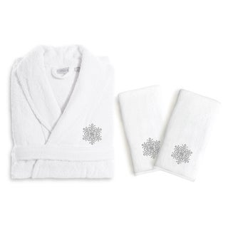 Authentic Hotel and Spa Silver Snowflake Holiday Terry Cloth Turkish Cotton Bath Robe and Hand Towel Set (Set of 3)