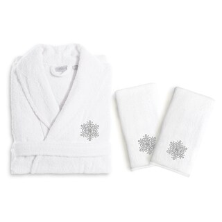 Authentic Hotel and Spa Silver Snowflake Holiday Terry Cloth Turkish Cotton Bath Robe and Hand Towel Set (Set of 3) (3 options available)