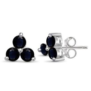 Jewelonfire Sterling Silver 2.25-carat Sapphire Gemstone 3-stone Earrings