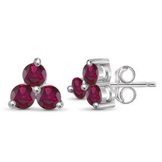 Jewelonfire Sterling Silver 1.95-carat Ruby Three-Stone Earrings